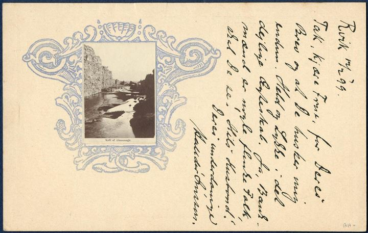 5 aur BRJEFSPJALD with ornamental frame for photograph affixed on reverse. Card with greetings on reverse and dated Reykjavik 12 February 1899, and addressee filled out on the front, but apparently not processed for mail service. Very unusual card.