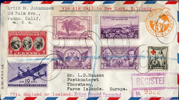 "A.R. Registered air mail letter sent from Fresno CA to Thorshavn 3 April 1942, stamped ""Return Receipt Requested"" and censortape P.C. 90 - Examiner 7318, 51-851-W.H.H. Ltd."