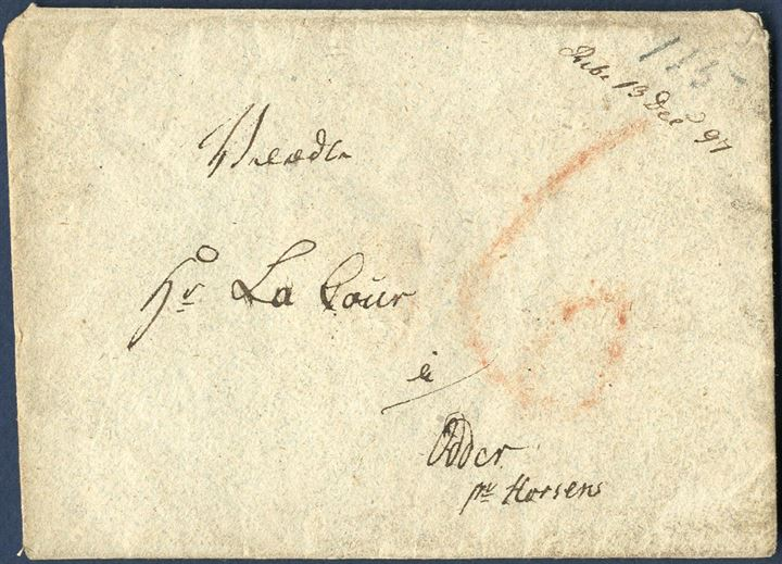 "Early letter from Ribe to Odder pr. Horsens with postal manuscript ""Ribe 12. Dec. 97"" and 6 sk. ""6"" red crayon. On reverse ""6-6"", list no. 6, rate 6 sk. by receiver."