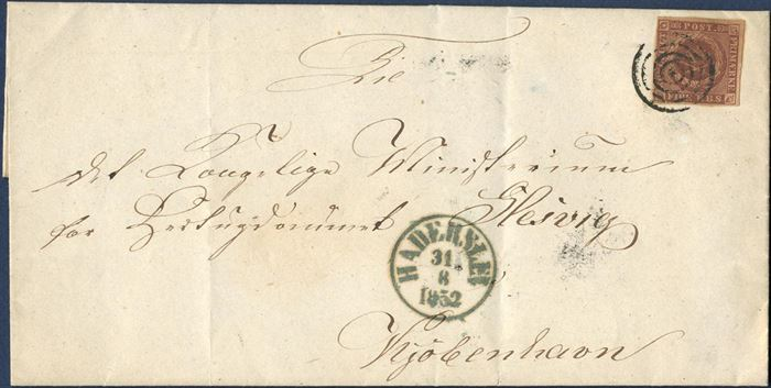 Ferslew printing 4 RBS, plate I-41 on letter from Haderslev to Copenhagen. Mute cancellation tying the stamp alongside bluish green Haderslev mark dated August 31, 1852.