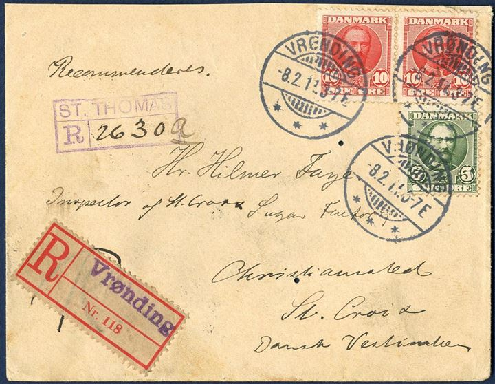 "Registered letter sent from Vrønding, Denmark to Christiansted, St. Croix 8 February 1911. At St. Thomas received an incoming registration mark ""ST. THOMAS R - 2630"" and St. Thomas and Christiansted marks on reverse. With registration mark on incoming mail an interesting postal proof of handling locally."