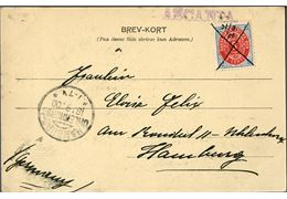"Postcard sent from St. Thomas to 13 August 1900 on German steamer ""ASCANIA""  with manuscript cancellation on 3 cents IX printing inverted frame, stamp cancelled with ink X + 31/8. 00."" alongside purser mark ASCANIA."