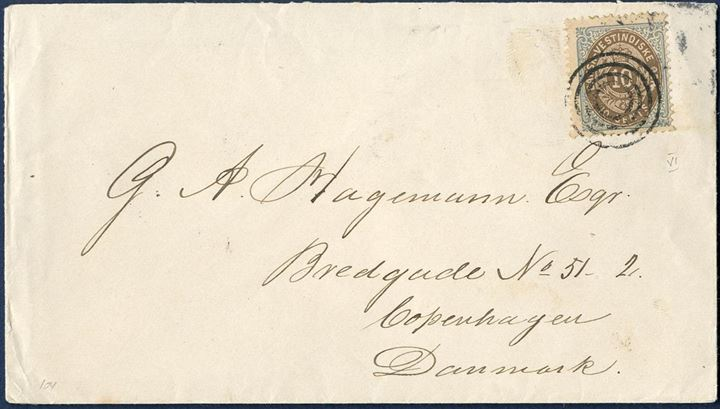 Letter franked with 10 cents bicoloured VI printing from Christianssted to Copenhagen December 12, 1895 tied by mute four-ring cancellation and to make up the 10 cents UPU rate. On reverse Christianssted C and St. Thomas transit. Arrival mark on reverse.
