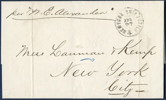"Entire sent from St. Thomas to New York 2 April 1864, charged 4 cents stamped by ""NEW YORK SHIP LETTER - 4 - APR 27"" and posted aboard the steamer ""Alexander""."