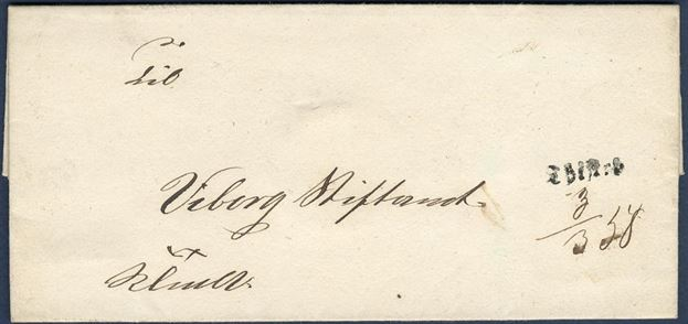 "Royal Service (K.T.m.a.) letter sent from Thisted to Viborg 3 March 1858. Stamped on front with 1-line mark ""Thisted"" and manuscript date ""3/3 58"". Rarely seen."
