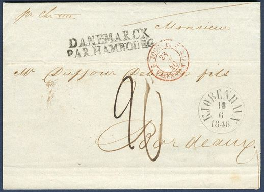 "Letter sent from Copenhagen to Bordeaux 18 June 1846, with transit via Hamburg T&T, charged 20 decimes, posted aboard the steamer ""Christian VIII"" from Copenhagen."