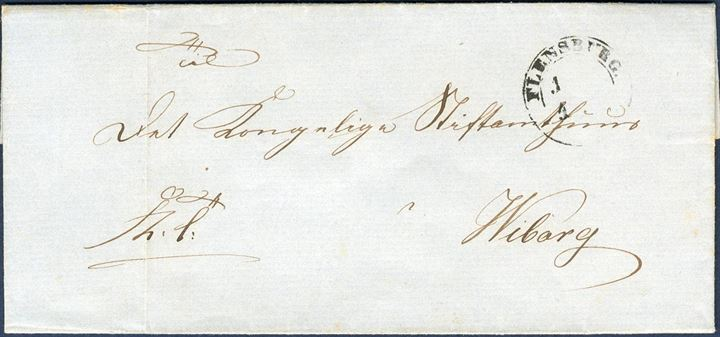 "FIRST DAY LETTER 1.4.1851 - Royal Service Military letter inside dated 30 March 1851 sent from Flensborg to Viborg stamped ""FLENSBURG 1.4.1851"" Antiqua IIa, which are the first date when stamps were introduced in Denmark, in Schleswig from 1 May 1851. The letter is sent from ""Fra det 5te Dragon Regiments 3. Squadron"" -"