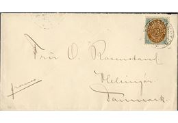 Letter franked with 10 cents bicoloured inverted frame VII printing from Christiansted to Copenhagen December 19, 1898 tied by Christiansted cds. 10 cents UPU rate. St. Thomas transit and Copenhagen arrival mark on reverse. A fine cover.