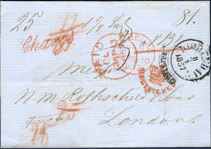 "Registered double rate letter sent from Copenhagen to London 8 April 1857, ""1 1/4"" lod, rate foreign total 81 sk., Danish total 25 sk. = 6 sgr. (17 sk. plus 8 sk. registration), total 106 sk. The foreign share 81 sk = 19 Sgr, hereof German share 6 sgr, Belgian share 2 sgr, British share 6 sgr, and British registration fee 5 sgr."