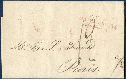 "Letter from Hamburg to Paris January 14th 1807 with 3-line mark ""B.G.D – Hambourg, R4 – 1807, Janv. 14"" ARGE 5 in red from Großherzogliches Bergisches Ober-Postamt. Fine and readable mark."