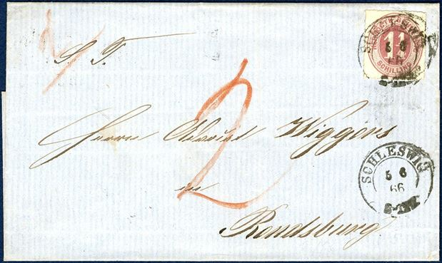 1 1/4 Sch. Herzogth-Schleswig 1865 on underfranked double rate letter from Schleswig to Rendsburg.  Underfranked, thus 2 Sch. due at receiver marked with a red crayon 2 and also 2 indication 2nd weight letter.