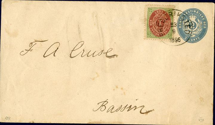 2 Cents envelope wm III with additional 1 cent bicoloured VIII printing from Frederiksted to Bassin September 23, 1896 tied by Frederiksted cds and Christiansted arrival mark on reverse. Local rate 3 cents, unusual item.