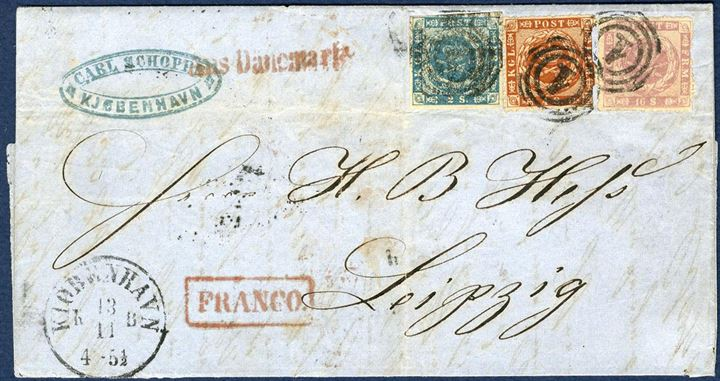 22 sk. rate cover from Copenhagen via Hamburg to Leipzig 13.11.1863 (64) franked with 16 skilling rouletted, 2 skilling 1855 and 4 sk. rouletted tied by numeral 1. 4 sk. double roulette at right.  Red Aus Dänemark* alongside and boxed FRANCO. Horizontal of vertical fold in envelope, but makes a good general impression.
