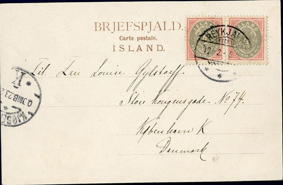 Pair of 4 aur numeral type 1902 on postcard to copenhagen from Reykjavik February 12, 1902 paying the 8 aur postcard rate to Denmark (1.7.1880 to 31.12.1907).  Copenhagen arrival mark on front, February 23th.