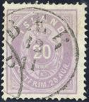 20 aur light violet I printing 1876 cancelled with Bær antiqua mark. A fantastic well preserved color. Exhibition item.