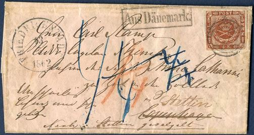 Letter sent from Friedrichstadt to Copenhagen and then re-directed to Stettin 13 May 1862. For the forwarding the Danish share marked in red crayon 1 1/4 Sch. C and due 4 1/4 in blue ink for the Mecklenburg by the addressee. Unusual letter.