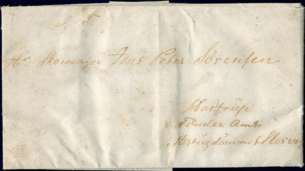 Pre-philatelic and carried privately letter from Reykjavik to Tønder in Slesvig February 17, 1853. This is one of only two letters to the duchies Slesvig from Iceland. Ex Crafoord.