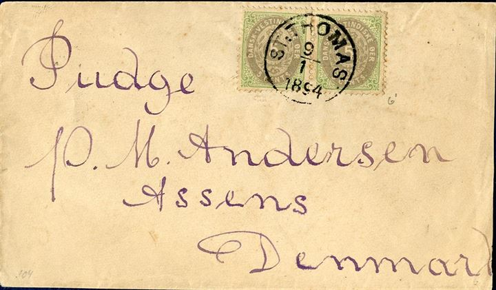 Letter from St. Thomas to Assens January 9, 1894 franked with a pair of 5 cents bicoloured VI printing to make up the 10 cents UPU rate. Possible earliest reported use of VI printing.