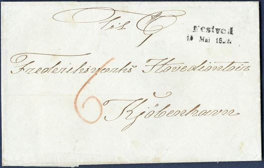 """Nestved – 15. Mai 1852."" 2-line cancel on front of 6 sk. prepaid letter to Copenhagen. Extremely fine example of a popular postmark. Rare in this quality."