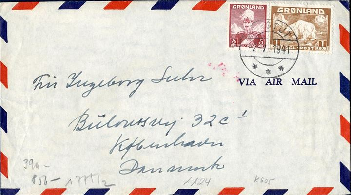 Air mail cover from Ivigtut to Copenhagen July 2nd, 1941 franked with 5 øre and 1 krone to make up the 105 øre rate, 20 øre to Denmark plus 85 øre air mail fee. German censor strip on reverse.