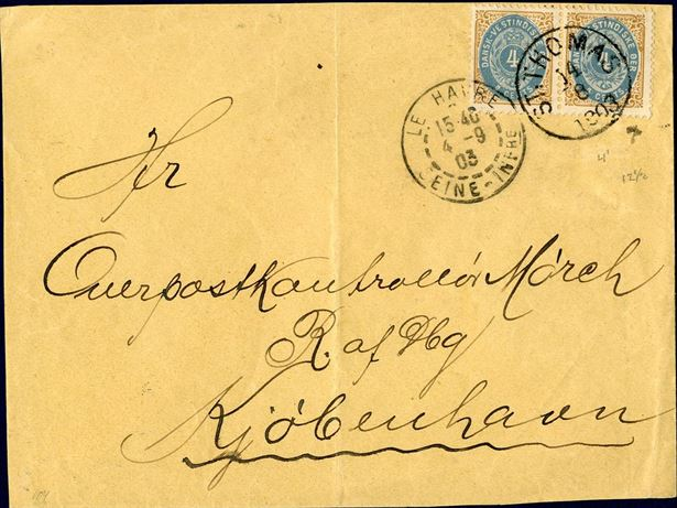 8 cents letter from St. Thomas to Copenhagen August 14, 1903 with French mail service tied by St. Thomas cds.  Via Le Havre September 4 cds on front and franked with a pair of 4 cents bicoloured IV printing to make up the 8 cents UPU rate to Denmark 8 cents from 01.01.1902 to 14.07.1905. A very fine letter.