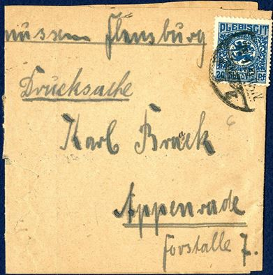 Slesvig Plebiscit 20 pf stamp on printed matter band from Flensburg to Apenrade, January 28, 1920. A very unusual and rare type of the printed matter rate.