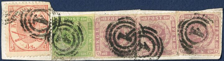 Piece with 3x 16 sk. rouletted issue, 8 sk. 1857 and 4 sk. 1864 tied by numeral 1. Fine stamps on attractive exhibition piece.