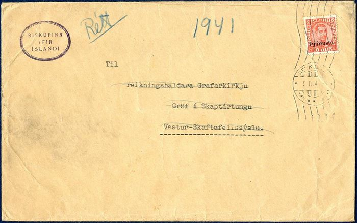 PRINTED MATTER Official letter from Reykjavik to Vík í Myrdal April 9, 1941 franked with a single overprinted Pjónusta 10 aur King Christian X issue. Rate 10 aur for printed matters weighing up to 50 grams. Rare