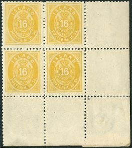 16 sk. yellow perf 12 1/2 corner block of four with full margin. Fine centering, unused.