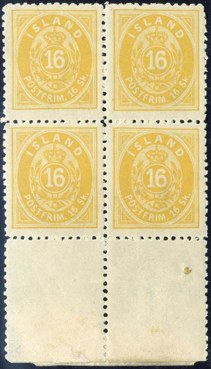 16 sk. yellow perf 12 1/2 block of four with full lower margin. Fine centering, unused.