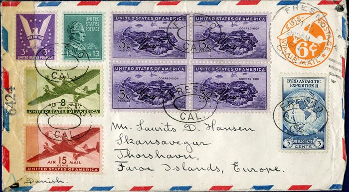 Air mail letter sent from Fresno to LD Hansen, the then postmaster of Thorshavn 7 October 1944. American resealing censor tape for resealing, censormarks DOT and single BAR, dot for the need for censorship to be done, and a bar to confirm the letter has been censored. Thorshavn receiving mark on reverse.