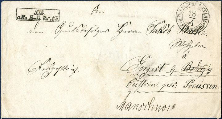 "Field Post letter sent from Kr. Pr. Feldpost in Flensburg to Gustrin, Prussia 18 April 1864.  Stamped with two-ring ""K.Pr.FELDPOST RELAIS  FLENSBURG"" and boxed soldiers unit."