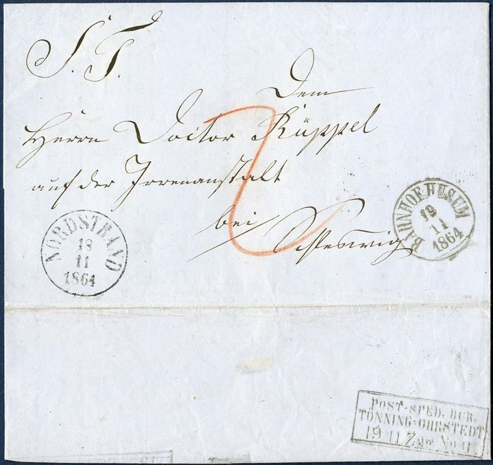"Letter sent from Nordstrand to Schleswig 18 November 1864, transit via Husum and bureau ""TÖNNING-OHRSTEDT Zug No. II""."