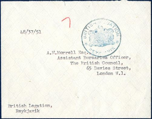 "Diplomatic mail sent by and with ""British Legation - Reykjavik"" cachet 1951, then likely delivered to The British Council in London."