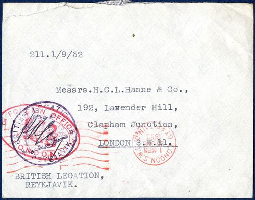 "Diplomatic mail sent by and with ""British Legation - Reykjavik"" cachet and then posted, and stamped with London mark 26 JNE 1952. Very unusual diplomatic mail from Iceland."