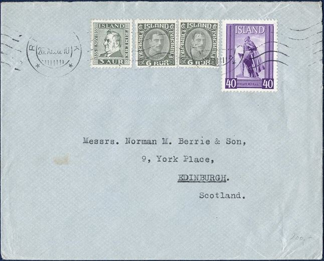 Letter sent from Reykjavik, bearing one 40 aur LEIFUR HEPPNI from the souvenir sheet Ieifr Eiricssons Day 1938 and two 6 aur Chr. X and 3 aur Jochumsson, correct 55 aur franking. Scarce with Leifr Eiricssons stamps taken out of the block.