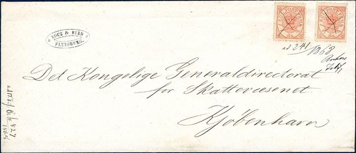 """Inside Franking"" letter sent from Flensburg to Copenhagen 1868, bearing two 4 sk. Arms type 1864, cancelled with ink crosses alongside ""ad 142/1868 xx"" and also another note of a journal number. Letters handed in to the Local Customs office and who in turn sent the letters with its other papers to the administration in Copenhagen, had to be franked by the public for the letter weight, in order for the public not to enjoy free postage."