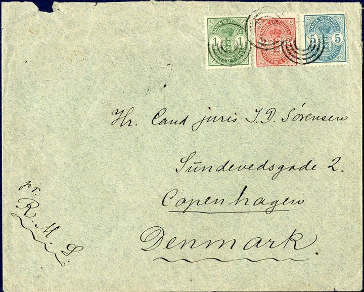Letter from Christiansted to Copenhagen July 12, 1904 tied by Christiansted four-ring cancellation, on reverse letter C, St. Thomas and Copenhagen arrival mark. Correct franked paying the 8 cents UPU rate. Manuscript pr. R.M.S. Royal Mail Steamer. Colourfull cover.