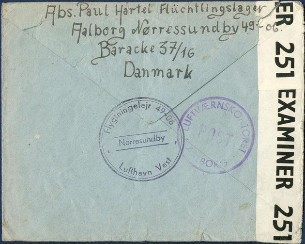 "Refugee letter sent from Nørresundby to Hannover 14 August 1946, stamped on reverse ""Flygtningerlejr 49-06 - Lufthavn Vest - Nørresundby"" and ""LUFTVÆRNSKONTORET AALBORG POST"", and resealed with British censor resealing tape ""EXAMINER 251""."