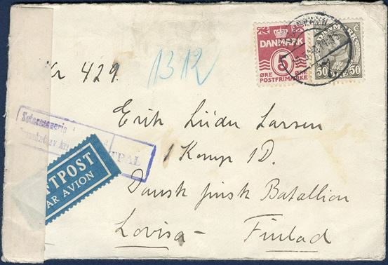 Letter sent from Copenhagen to a Danish volunteer in the Winterwar 14 May 1940, to Erik L. Larsen, 1. Komp. 1D, Dansk Finsk Batallion, Lovisa, Finland.
