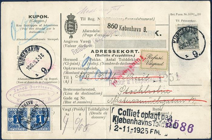 Parcel card for one parcel 4,9 kg. sent from Copenhagen to Stockholm 10 October 1925, bearing a 2 kr. King Christian X grey. Refused by the addressee and then returned to Denmark, where the sender was charged 2 kr. for the return postage, and applied two 1 kr. blue postage due stamp.