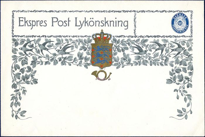 "Expres Post Lykönskning 40 øre envelope issued for ""Kunstforlaget"" paying the express fee of 40 øre. Additional franking for the postage to be added on the letter. Rare."