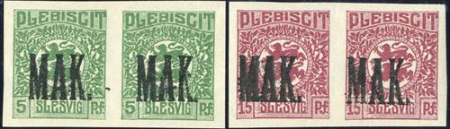 "Plebiscit overprinted ""MAK."" on imperforate pair of 5 and 15 pf. Rare"