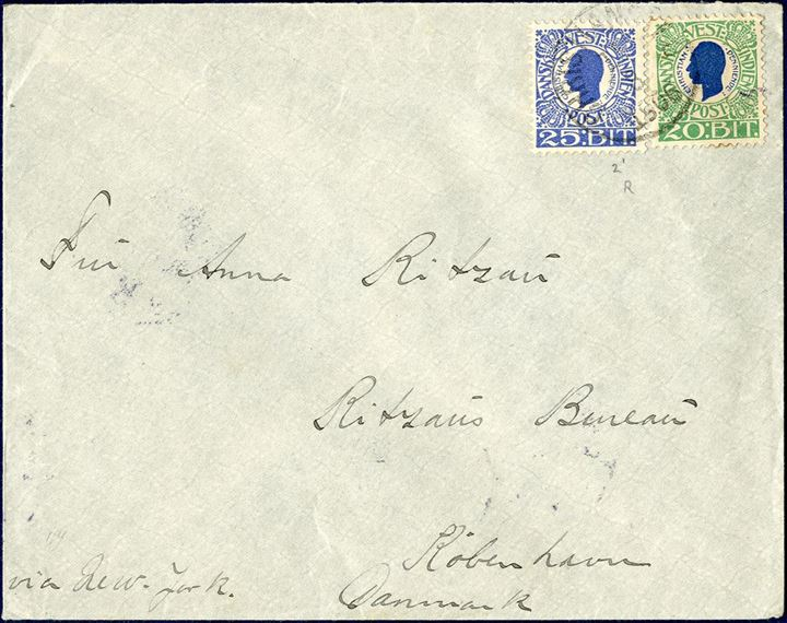 Letter from Christiansted to Copenhagen August 15, 1906 franked with 20 and 25 BIT  King Christian IX tied by Christiansted cds. 5 BIT overfranked to make up the 40 BIT rate to UPU countries.