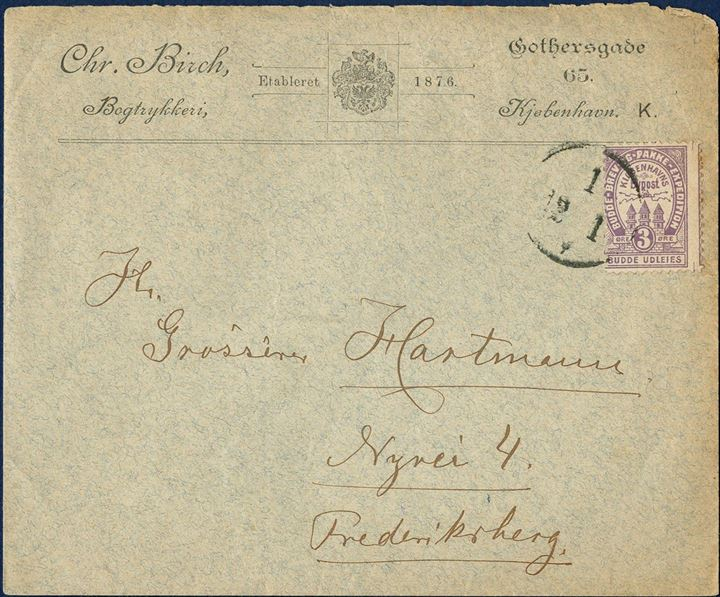 Danish City Post. Copenhagen Bypost with 3 øre mauve (1883) on very decorative business envelope