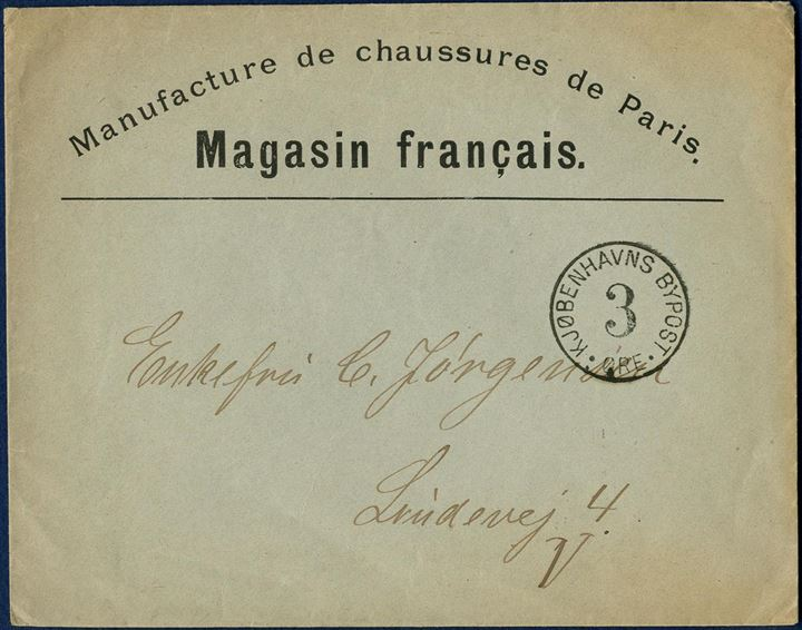 "Danish City Post. Commercial letter from ""Magasin Français"" with cash franco 3 øre mark."
