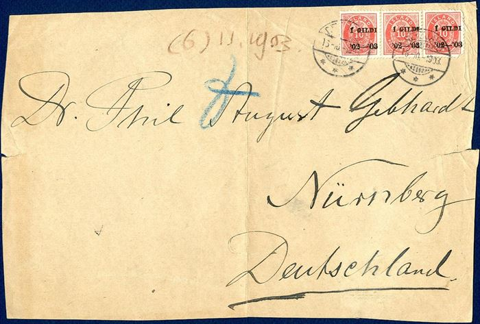 Front from printed matter wrapper band from Reykjavik to Nürnberg in Germany October 16, 1903. Franked with 3 copies of the 10 aur I GILDI issue to pay the weight of 6x 50 gramms, total 300 gramms. Possible only recorded item of the I GILDI issue on wrapper front. A few small faults on the right stamp. Extremely scarce.