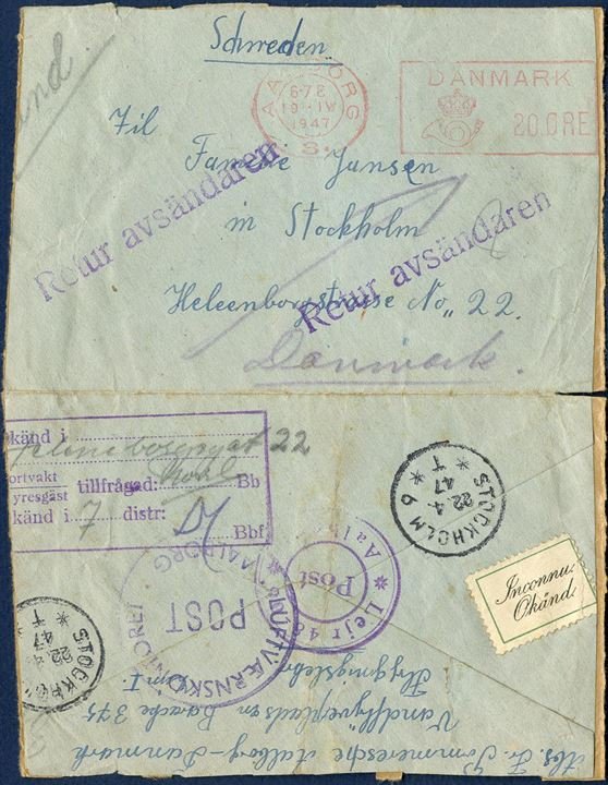 Letter from a refugee in the camp of Aalborg Water airfield, barach 375 to Stockholm on 19. April 1947. Receiver there is unknown, thus returned to Aalborg. Two Aalborg camp marks on reverse. Interesting and appealing cover.