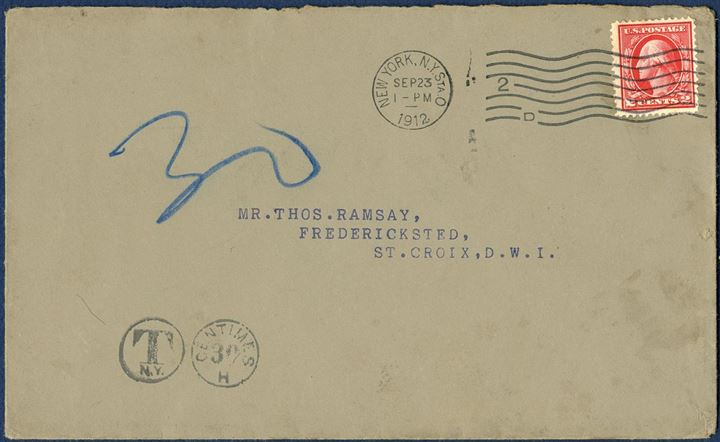 Letter from New York to Frederiksted September 23, 1912 franked with US 2 cents. Underfranked and taxed 30 centimes equals 30 BIT on arrival in DWI. 30 BIT postage due stamp on reverse. Rare.