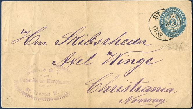 2 cents stationery envelope with watermark I sent to Christiania in Norway from St. Thomas 8. November 1888 with a merchant mark on the front. An unusual destination.